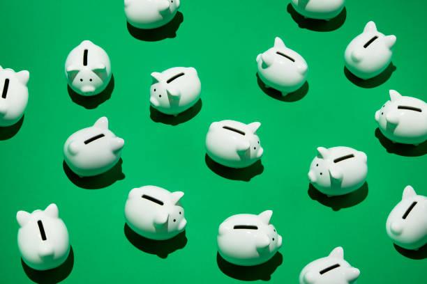 Tirelires cochons blanches sur fond vert